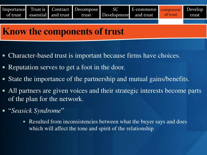 Importance of trust