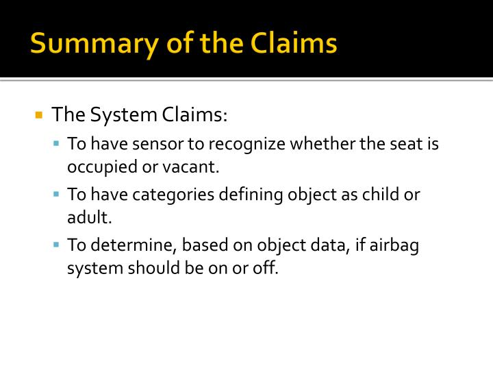 Summary of the Claims