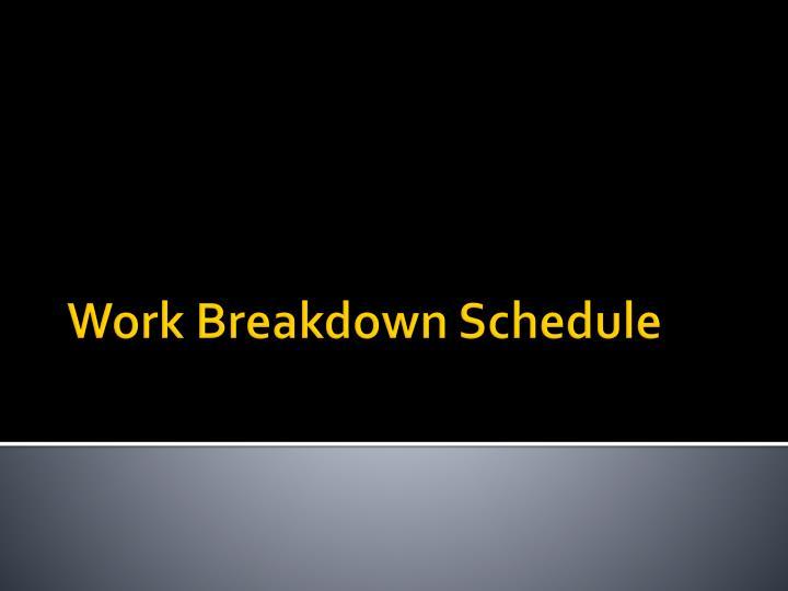 Work Breakdown Schedule