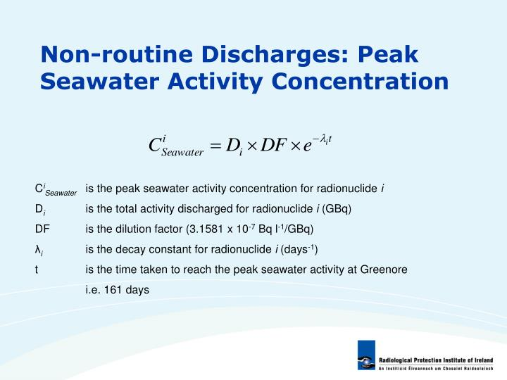 Non-routine Discharges: Peak Seawater Activity Concentration