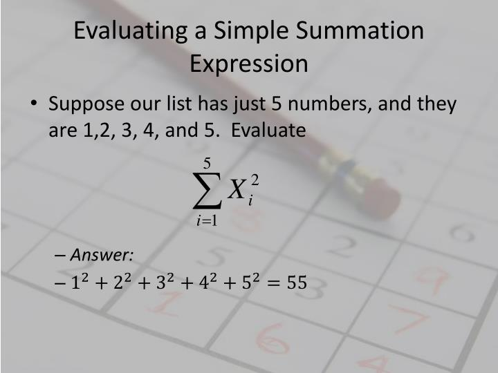 Evaluating a Simple Summation Expression
