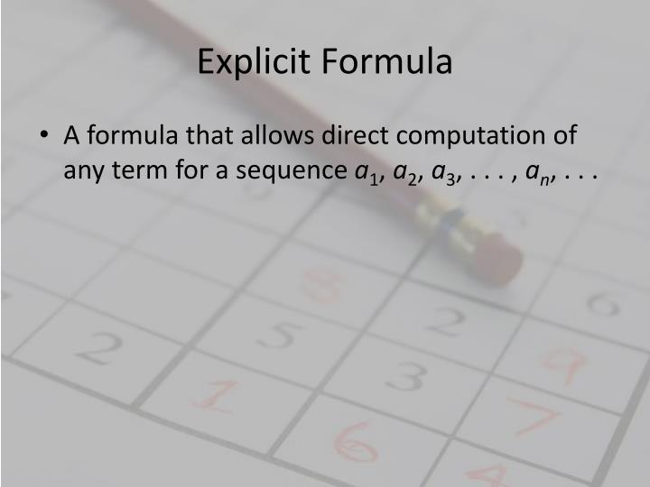 Explicit Formula