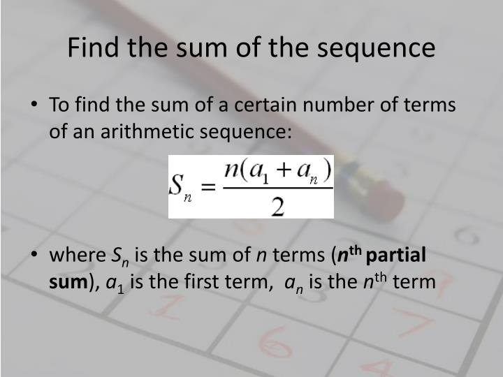 Find the sum of the sequence