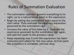 rules of summation evaluation