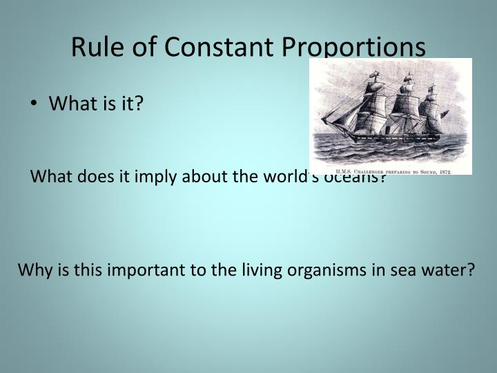 Rule of Constant Proportions