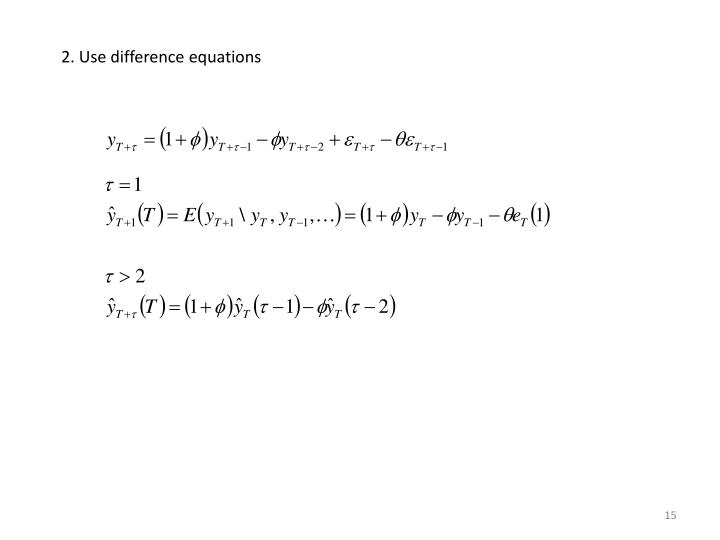 2. Use difference equations