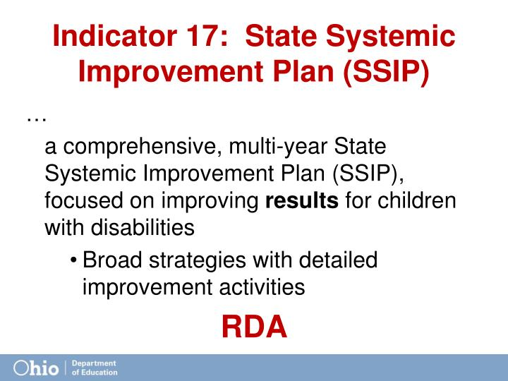 Indicator 17:  State Systemic