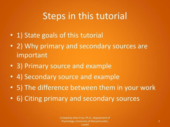 Steps in this tutorial