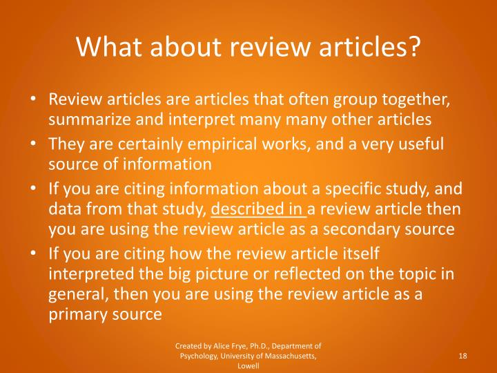 What about review articles?