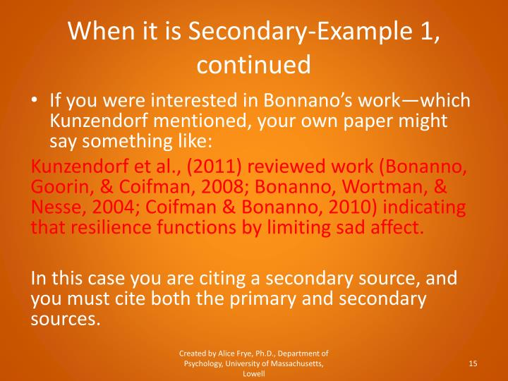 When it is Secondary-Example 1, continued