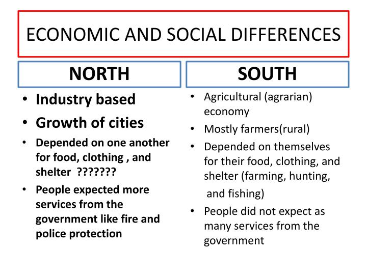 ECONOMIC AND SOCIAL DIFFERENCES