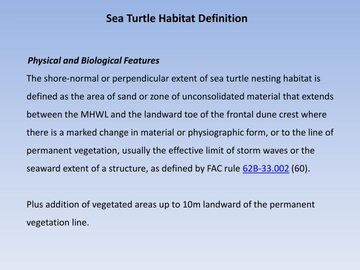 Sea Turtle Habitat Definition