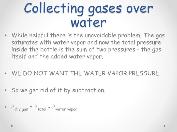 Collecting gases over water