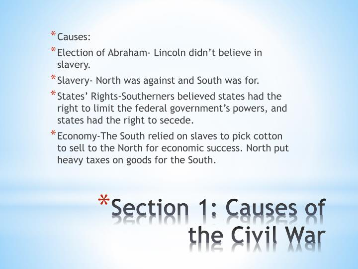 Section 1 causes of the civil war