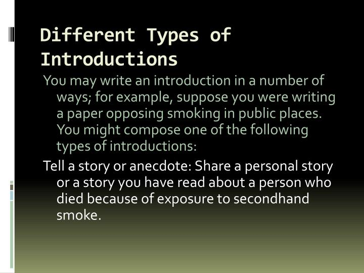 Different types of introductions