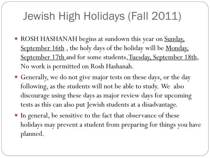 Jewish High Holidays (Fall 2011)