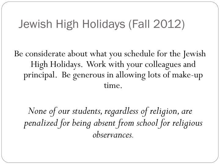 Jewish High Holidays (Fall 2012)