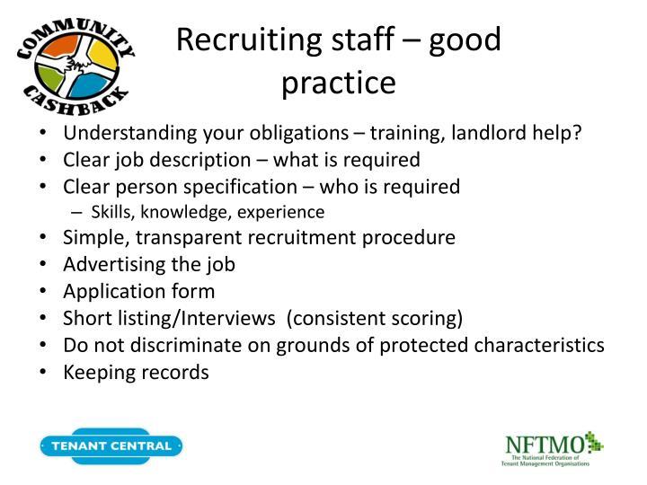Recruiting staff – good practice
