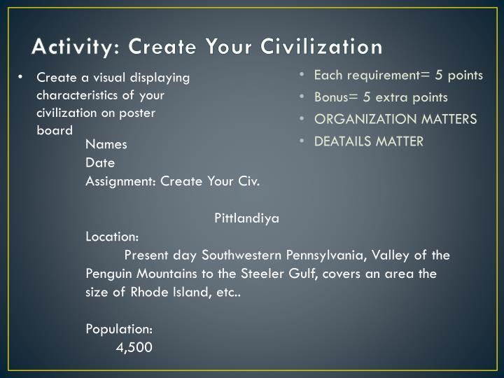 Activity: Create Your Civilization