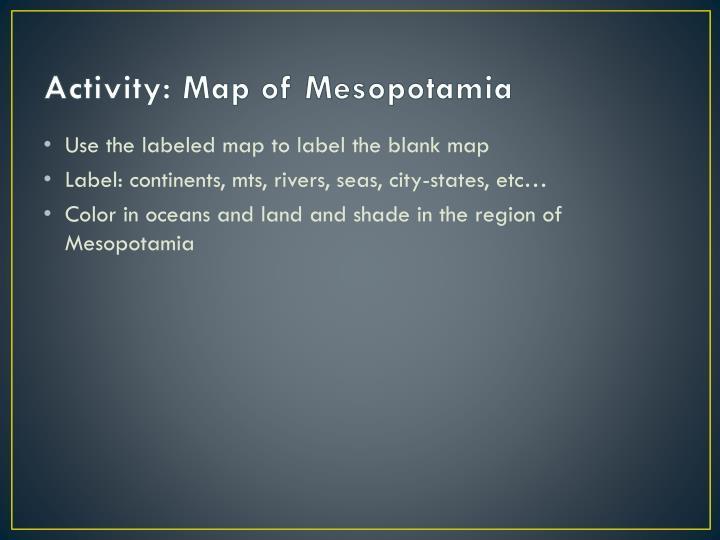 Activity: Map of Mesopotamia
