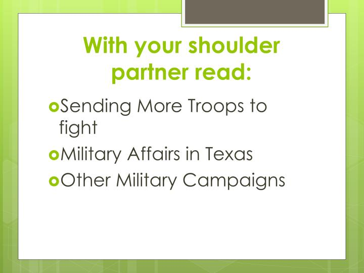 With your shoulder partner read: