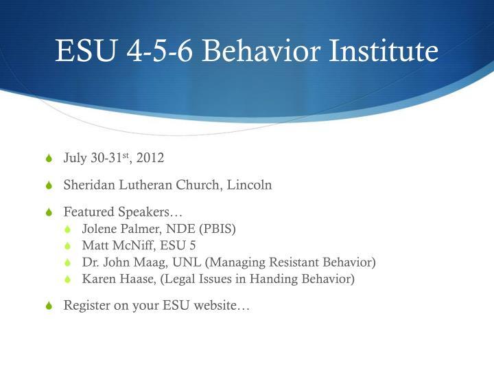 ESU 4-5-6 Behavior Institute
