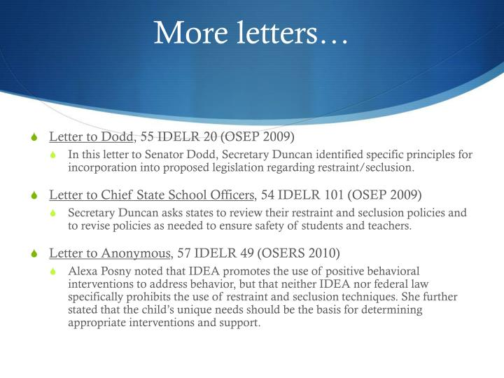 More letters…