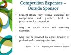 competition expenses outside sponsor
