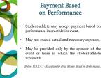 payment based on performance
