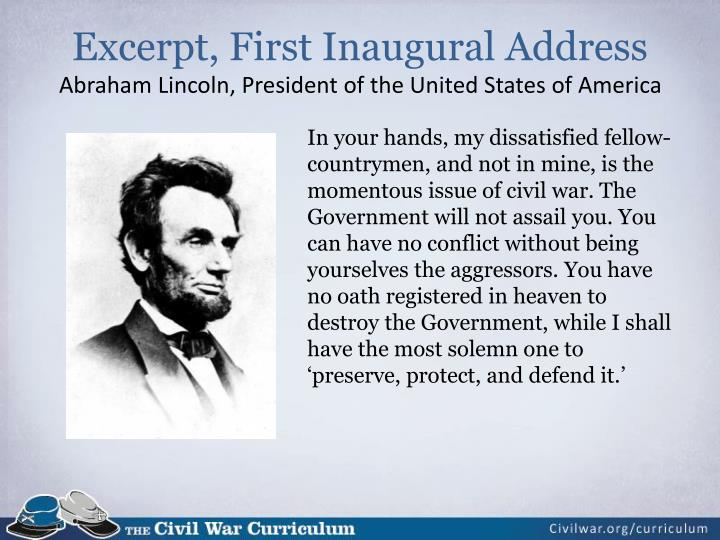 Excerpt, First Inaugural Address