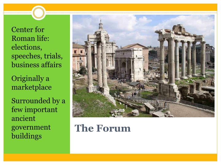 Center for Roman life: elections, speeches, trials, business affairs