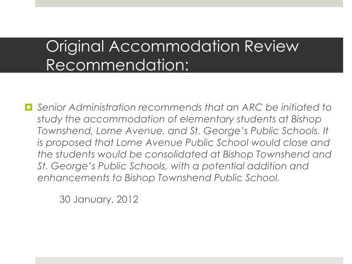Original accommodation review recommendation