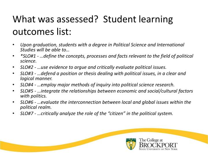 What was assessed?  Student learning outcomes list: