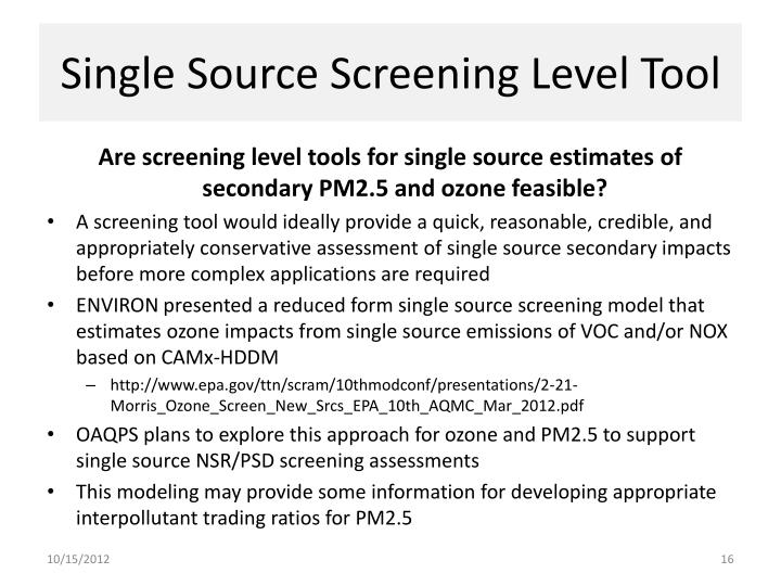 Single Source Screening Level Tool