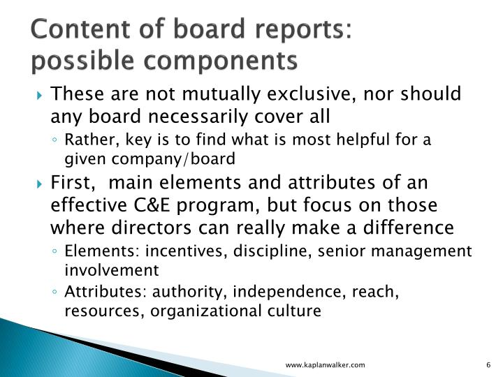 Content of board reports: