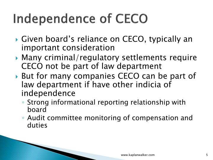 Independence of CECO