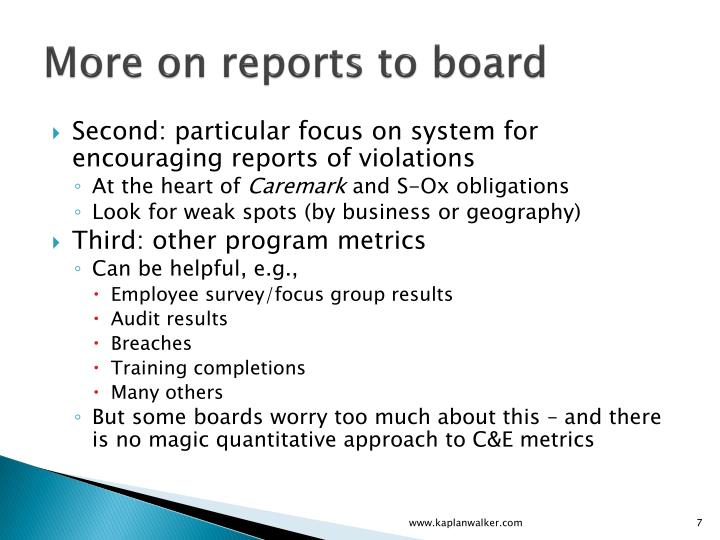 More on reports to board