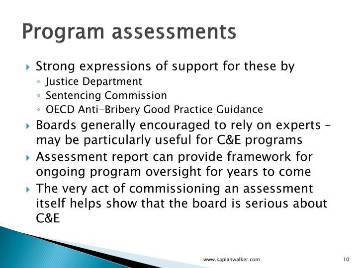 Program assessments