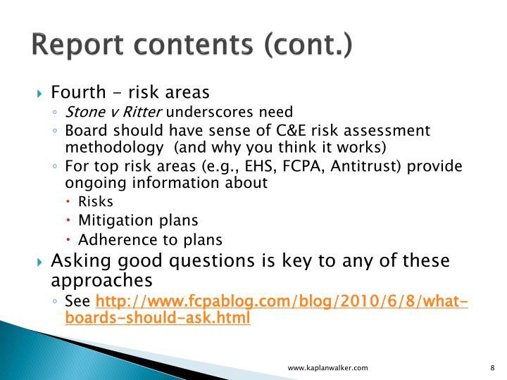 Report contents (cont.)