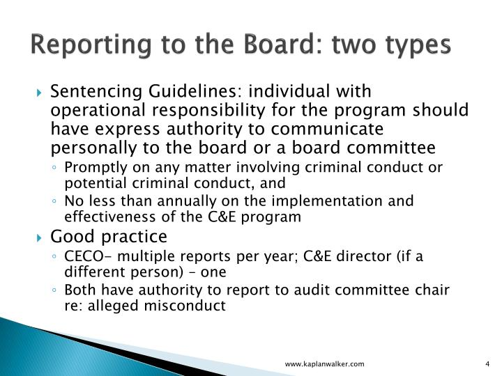 Reporting to the Board: two types