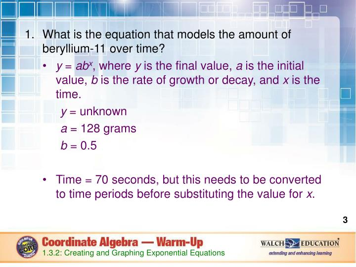 What is the equation that models the amount of beryllium-11 over time