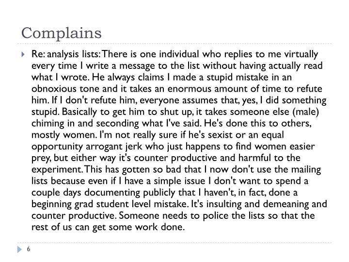 Complains