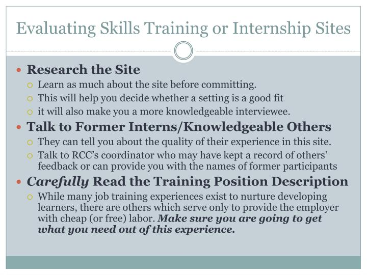 Evaluating Skills Training or Internship Sites