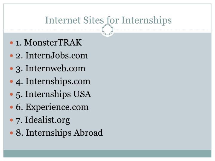 Internet Sites for Internships