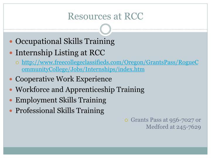 Resources at RCC