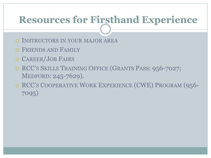Resources for Firsthand Experience