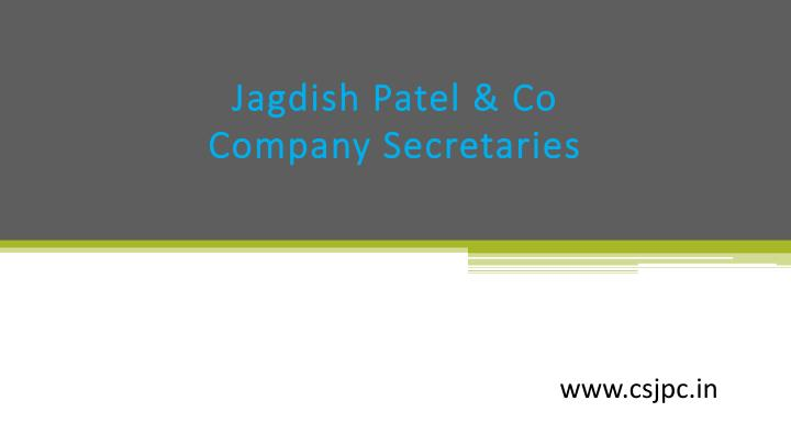 Jagdish patel co company secretaries