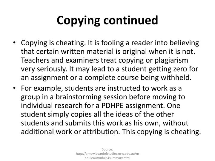 Copying continued
