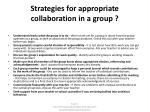 s trategies for appropriate collaboration in a group