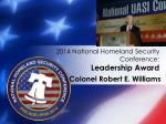 2014 national homeland security conference leadership award1